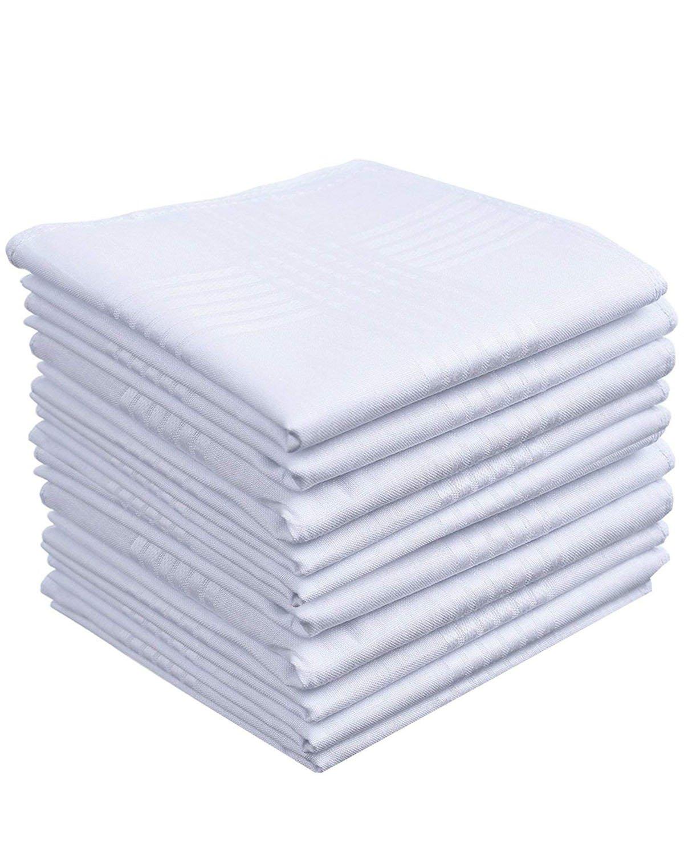 Mens White Cotton 100% Cotton handkerchiefs Fashion Pack-HK006