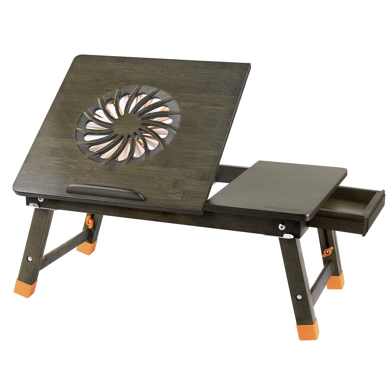 Laptop Desk Nnewvante Adjustable Laptop Desk Table 100% Bamboo with USB Fan Foldable Breakfast Serving Bed Tray w' Drawer-Bronze