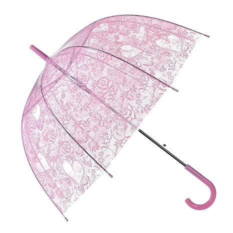 Remedios automático abierto transparente burbuja transparente encaje flores bóveda paraguas,rosa melocotón