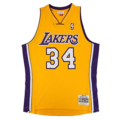 Amazon.com  Mitchell   Ness Shaquille O Neal Los Angeles Lakers NBA Gold  1996-97 Hardwood Classics Swingman Jersey For Men  Clothing 7df9477ee