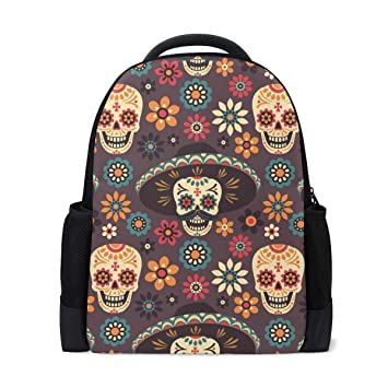 2a086994d37b MERRYSUGAR School Backpack Travel Bag Daypack School Bag for Girls Teens  Boys Kids Sugar Skull Halloween