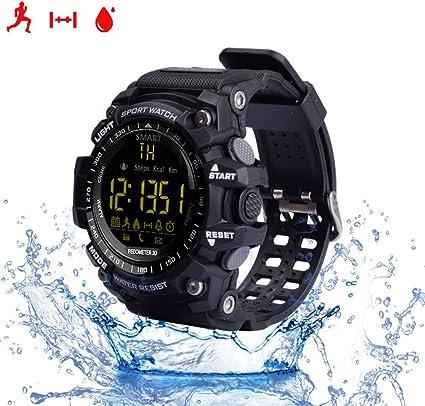 Reloj inteligente, con monitor cardiaco, resistente al agua IP67, Bluetooh, EX16, compatible con Android e IOS