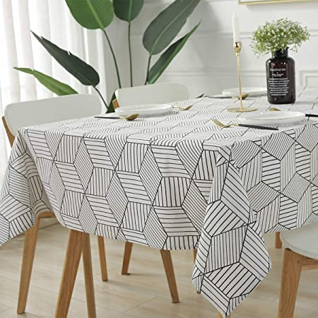 Boho Watercolor Cotton Sateen Tablecloth by Spoonflower Geometric Tablecloth Black Watercolor Geometric Boho Pattern by suzzincolour
