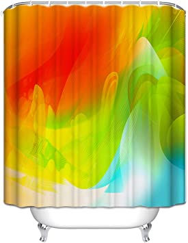 Colorful Shower Curtain Abstract Smooth Lines Print for Bathroom