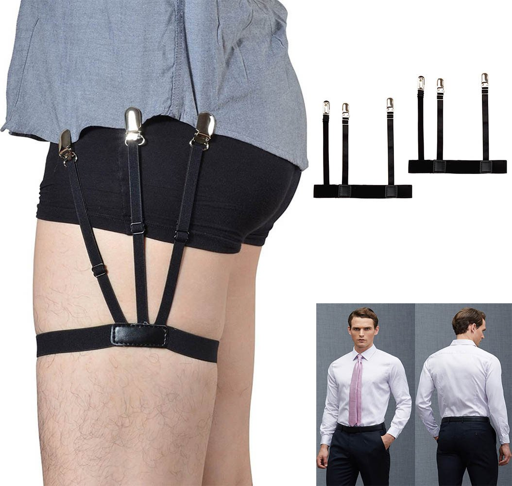 Iuhan 1 Pair Mens Adjustable Shirt Stay Garters Belt With Non-Slip Locking Clamps (A)