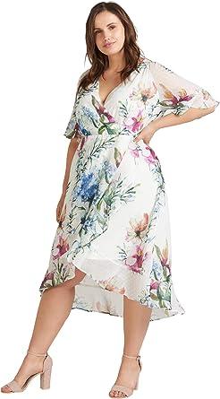 Zizzi Robe Pour Femme Avec Imprime Floral Et Manches Courtes Taille 42 56 Blanc Small Amazon Fr Vetements Et Accessoires