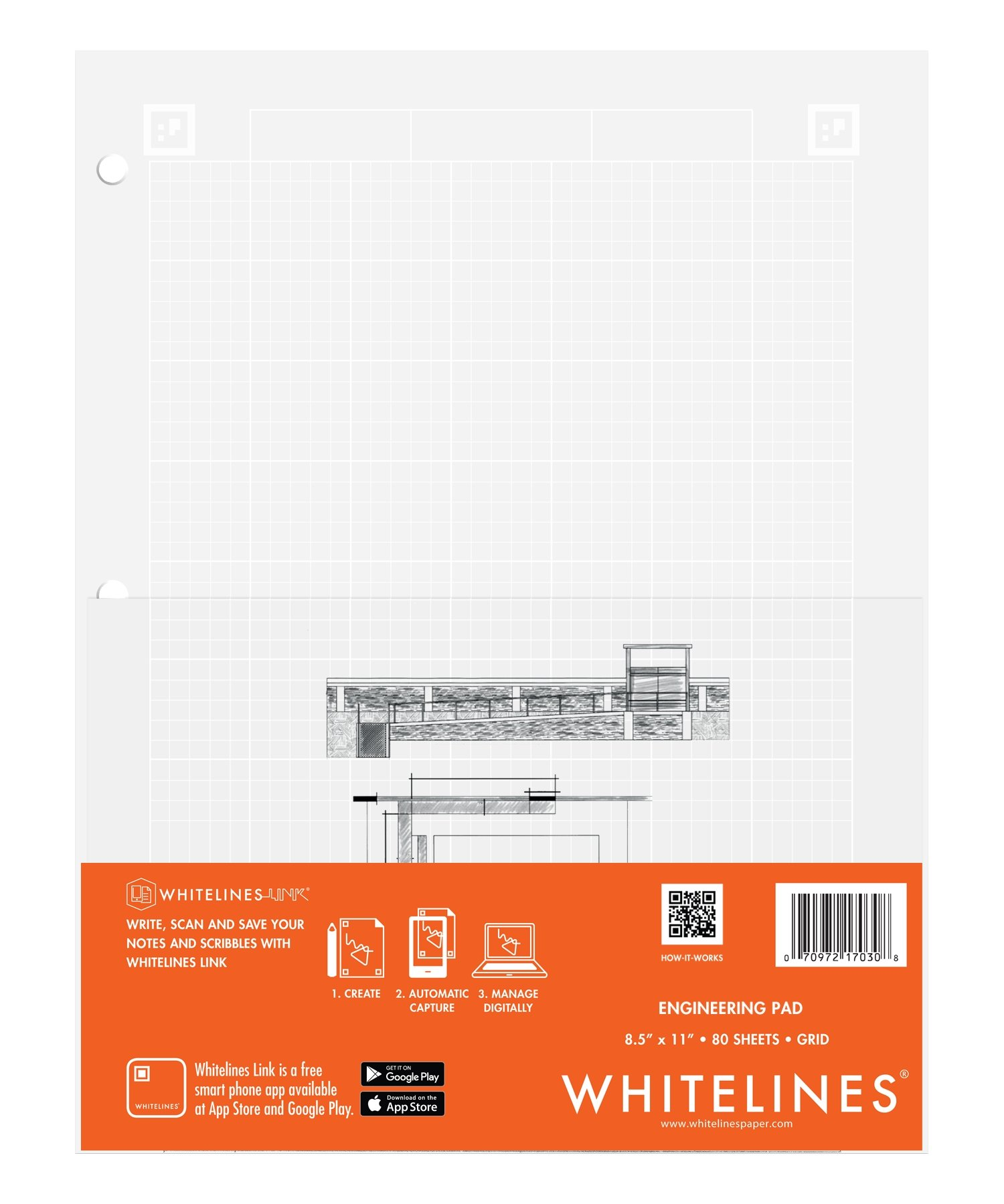 Case of 24 Whitelines App Engineering Computational Pads, 8.5''x11'', Grey Grid White Paper, 80 sheets, 3 Hole punch, Enclosed Grid printing by WhiteLines (Image #13)