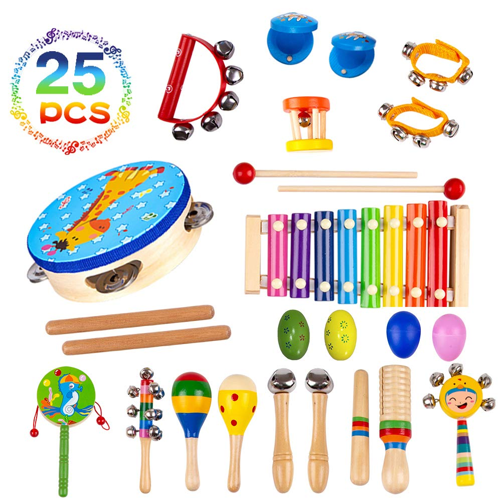 Buself Musical Instruments Toys for Toddlers-15 Types Wooden Percussion Instruments for Kids with Adorable Backpack Storage Bag (25 PCS)