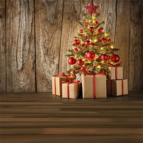 Country Christmas Background Wallpaper.Csfoto 8x8ft Background For Christmas Tree With Red Ball Gift Boxes Photography Backdrop Rustic Wood Merry Christmas New Year Xmas Ornament Country