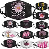 Hurrybuy 1PC Breast Cancer Awareness Hope Pink Ribbon Face_Mask,Adjustable Reusable Washable Dustproof Bandana for Adult