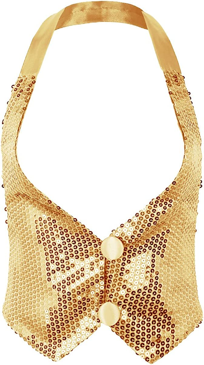 dPois Womens Sparky Sequins Halter Neck Backless Vest Waistcoat Tank Top Hip Hop Clubwear