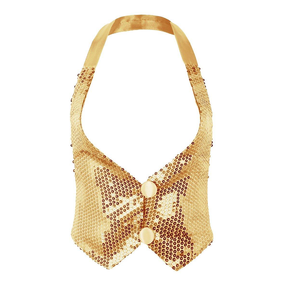 iEFiEL Women's Sparky Sequins Halter Neck Backless Nightclub Vest Jazz Dance Top 10054912-10054909-UK