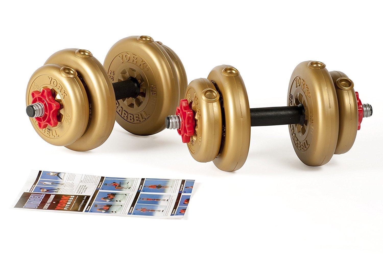 York Fitness Juego de Mancuernas Discos de Vinilo Dorado DE 12 kg/15 kg Ajustables. con Barras de Forma Tubular con spinlock, Unisex, Adjustable Vinyl: ...
