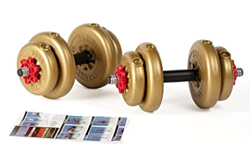 York Fitness Juego de Mancuernas Discos de Vinilo Dorado DE 12 kg/15 kg Ajustables