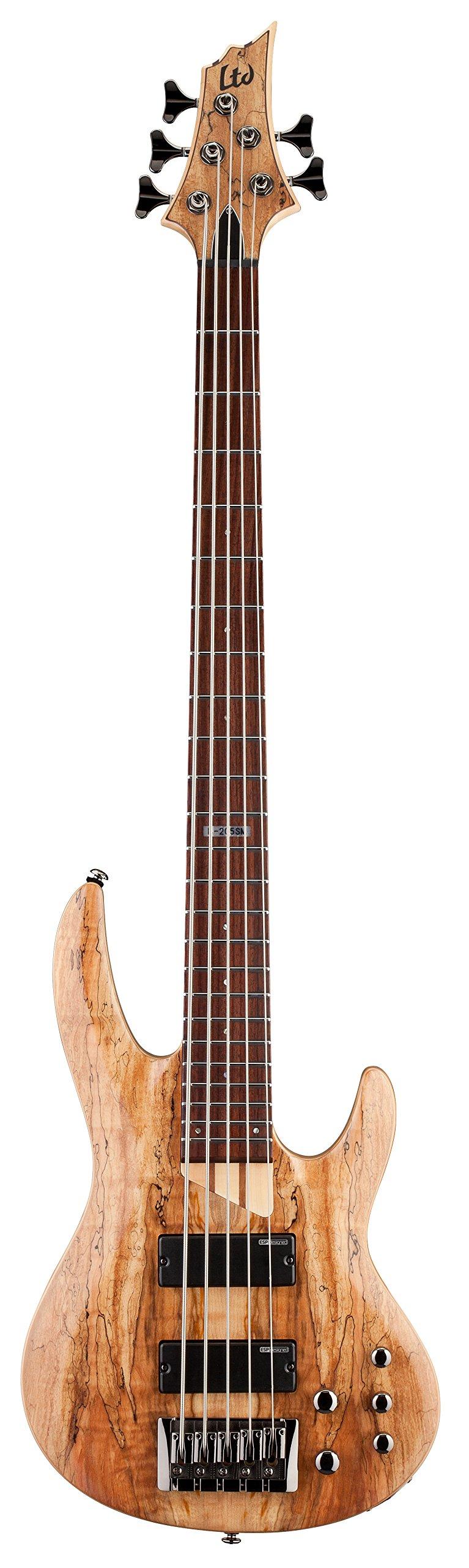 ESP LTD B-205SM Spalted Maple Five-String Bass Guitar, Natural Satin