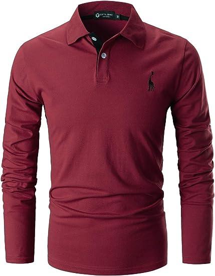TALLA XL. STTLZMC Polo Hombre Mangas Largas Camiseta Casual Botón Cuello Slim Fit 100% Algodón Golf