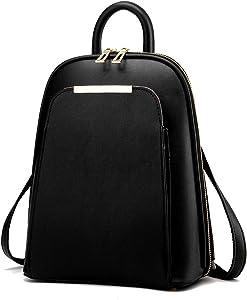 Backpack Women Black Back Pack School Bags Teenage Girls Gold Pu Black