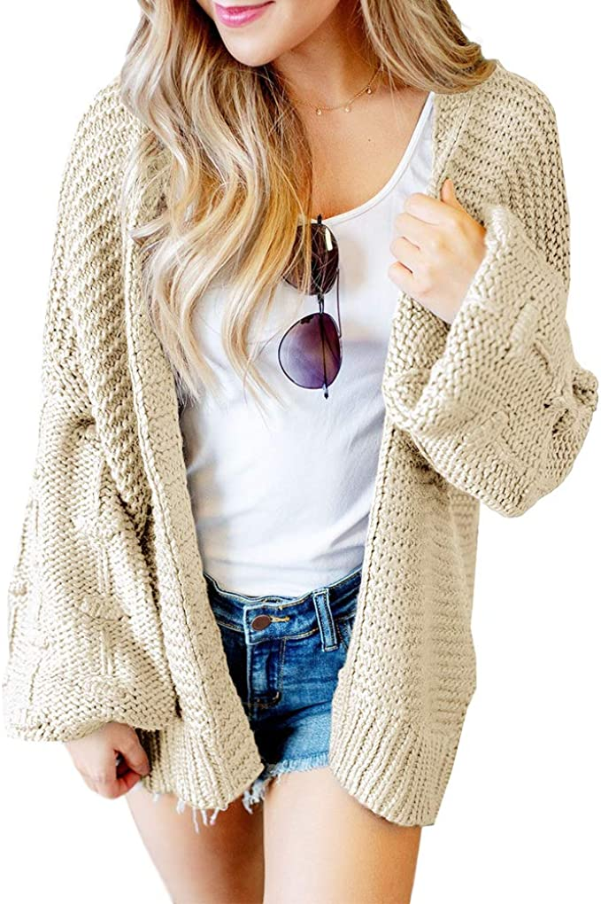Cicy Bell Womens Open Front Cardigans Cute Lantern Pom Pom