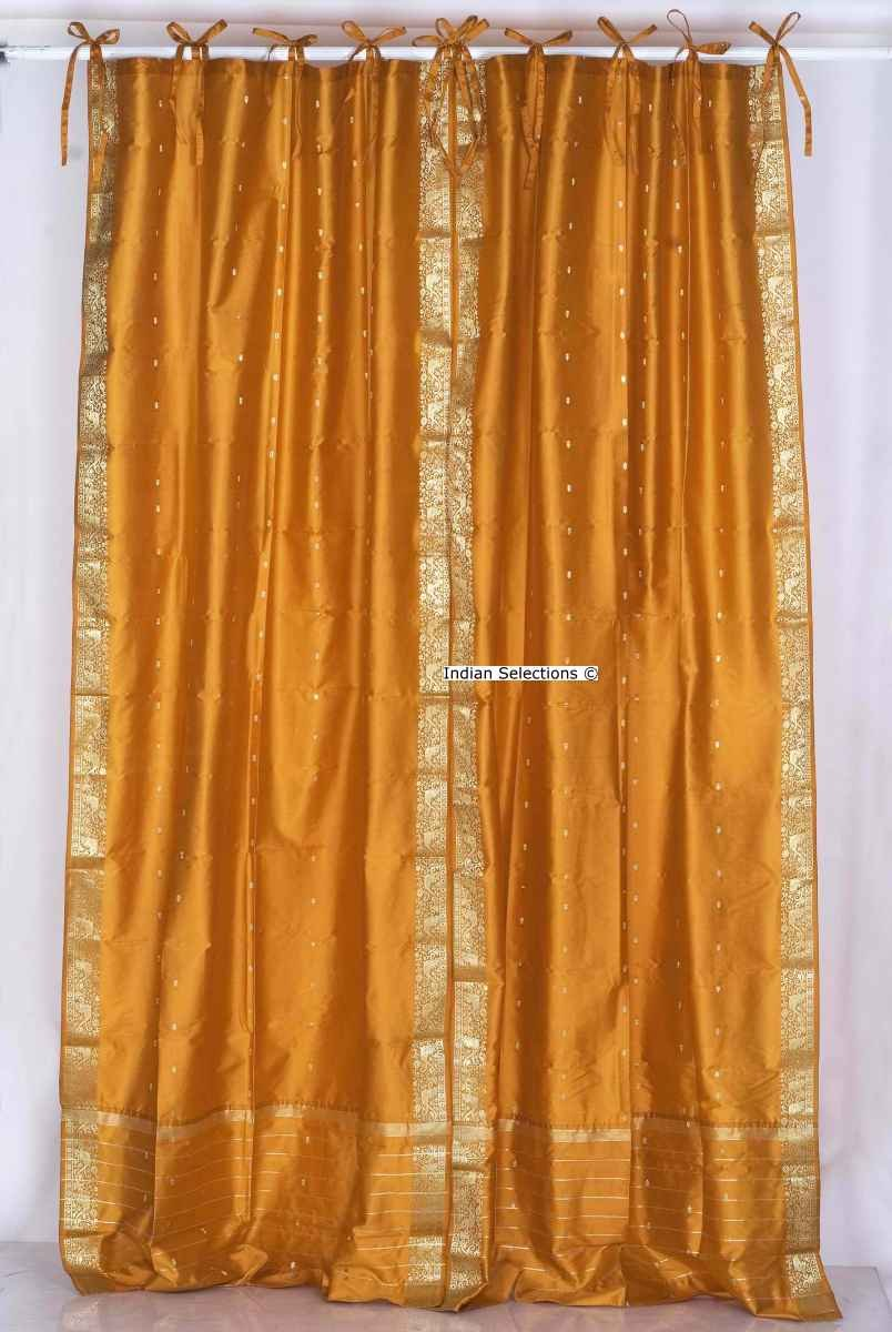 Mustard Tie Top Sheer Sari Curtain / Drape / Panel - 43W x 96L - Piece
