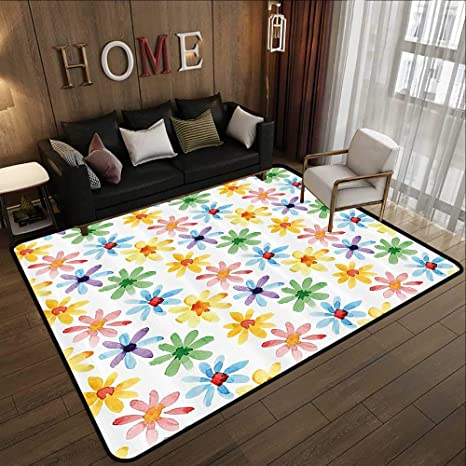 Amazon Com Bedroom Rugs Floral Colorful Flowers Spring Season Nature Garden Theme Watercolors Hand Painted Artwork Multicolor 78 7 X 118 Kitchen Doormat Kitchen Dining