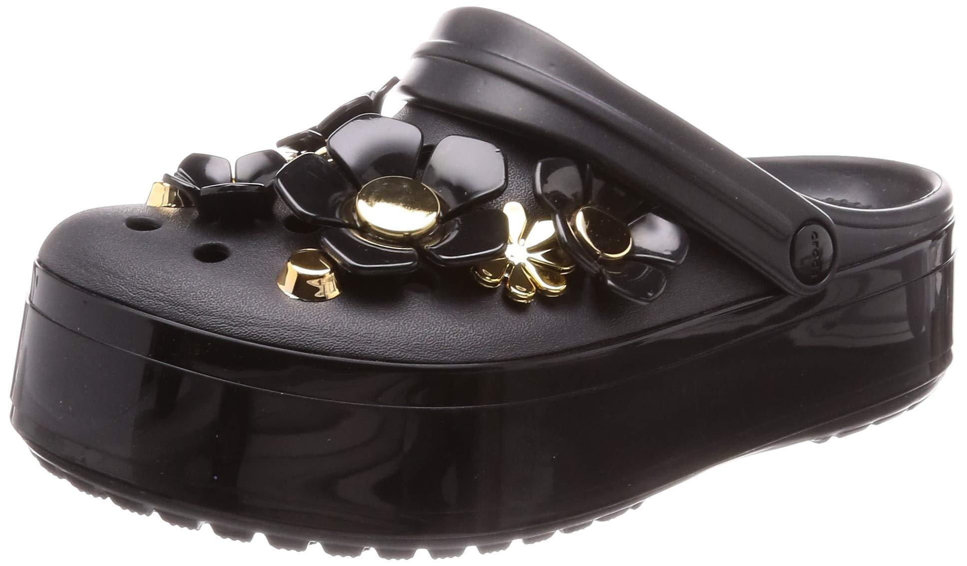 Crocs Crocband Platform Metallic Blooms Clog, Black, 7 US Men/ 9 US Women M US