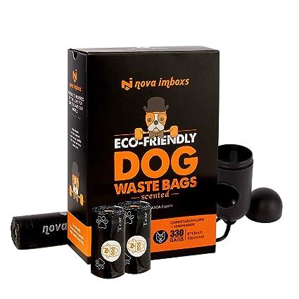 Nova imboxs Bolsas Excrementos Perros, Bolsas Biodegradables Ecológicas Fragantes Durables Portátiles a Prueba de Fugas Extragrandes con Dispensador ...