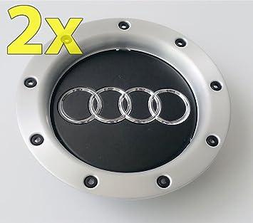 Ug 2 x Tapacubos Tapones Repuesto de 146 mm para Audi Color Negro Aluminio - Para Tachuelas Círculos Aleación: Amazon.es: Coche y moto
