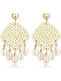 Rattan Shell Earrings Handmade Straw Wicker Braid Woven Drop Earrings Boho Cowrie Shell Chandelier Statement Dangle Stud...