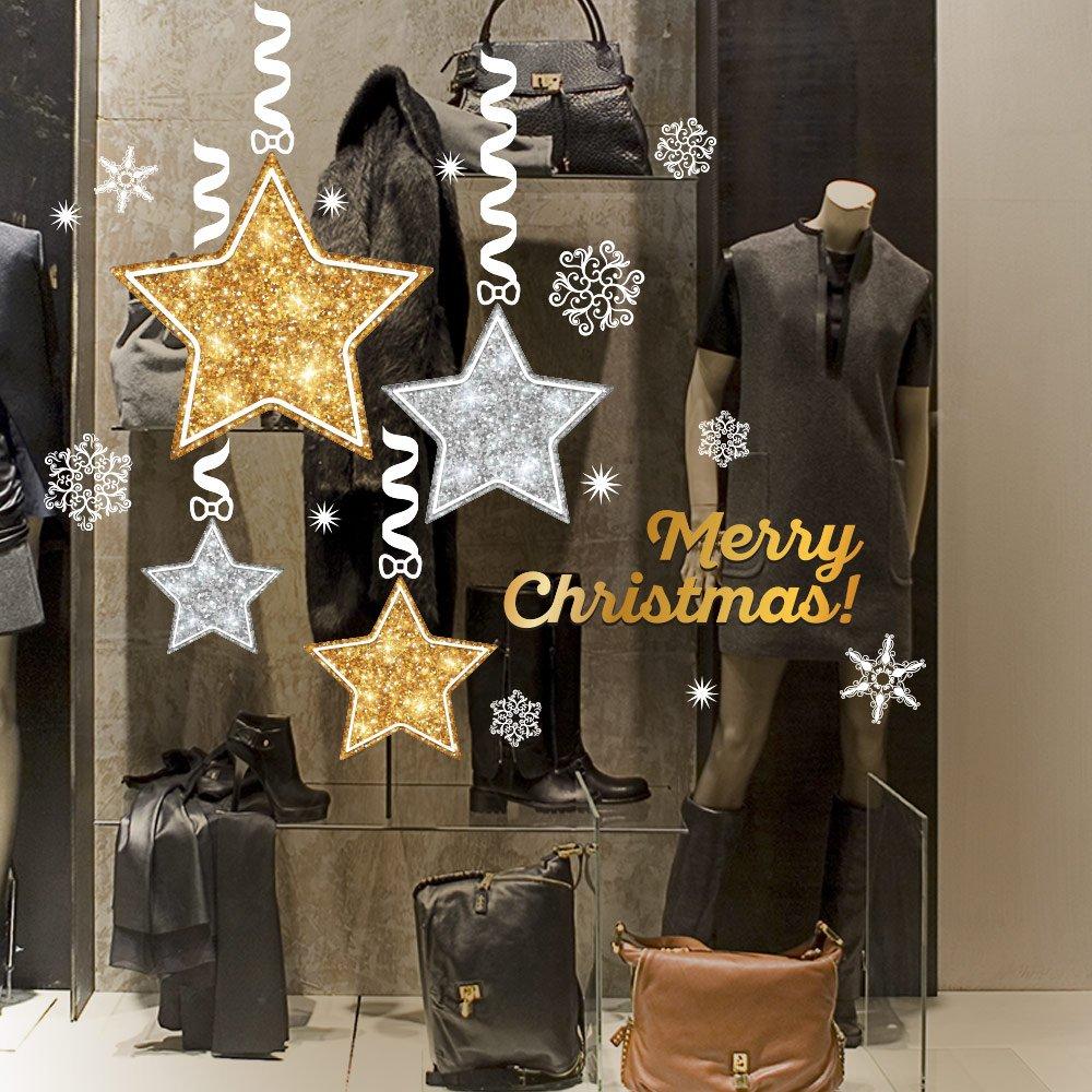 wall art UVNT0005 Stelle di Natale - Misure 2 fogli 45x35 cm - Vetrofanie natalizie su PVC trasparente - Decorazioni adesive da vetrine per natale