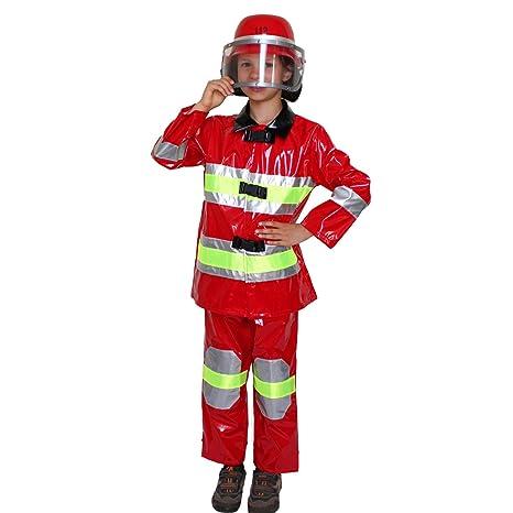 Krause & Sohn Traje de niño Bombero Rojo Brillante Disfraz ...