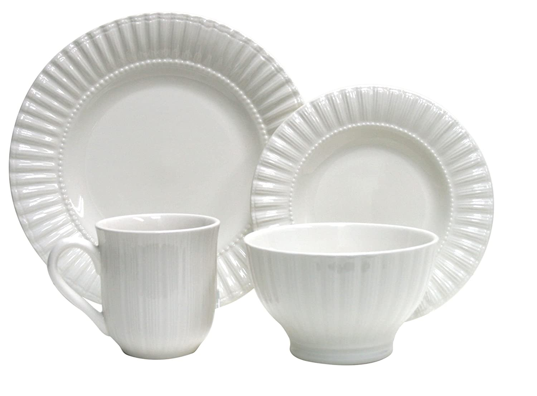 Amazon.com | Thomson Pottery 16−pc Masion White Dinnerware Set White Stoneware Dishes Dinnerware Sets  sc 1 st  Amazon.com & Amazon.com | Thomson Pottery 16−pc Masion White Dinnerware Set ...
