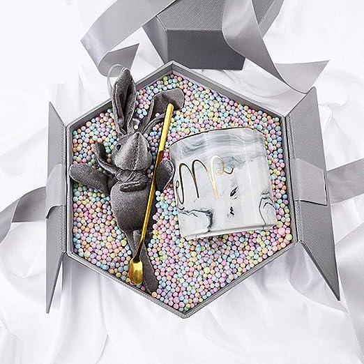 Caja, Caja Hexagonal, Caja Creativa De Color, Caja De Regalo De Mano, DecoracióN De IluminacióN, Bola De Meteorito Interno, Hierba Lafita, DecoracióN De Conejo, Etc,Gray-Large(24×21×11-cm): Amazon.es: Jardín