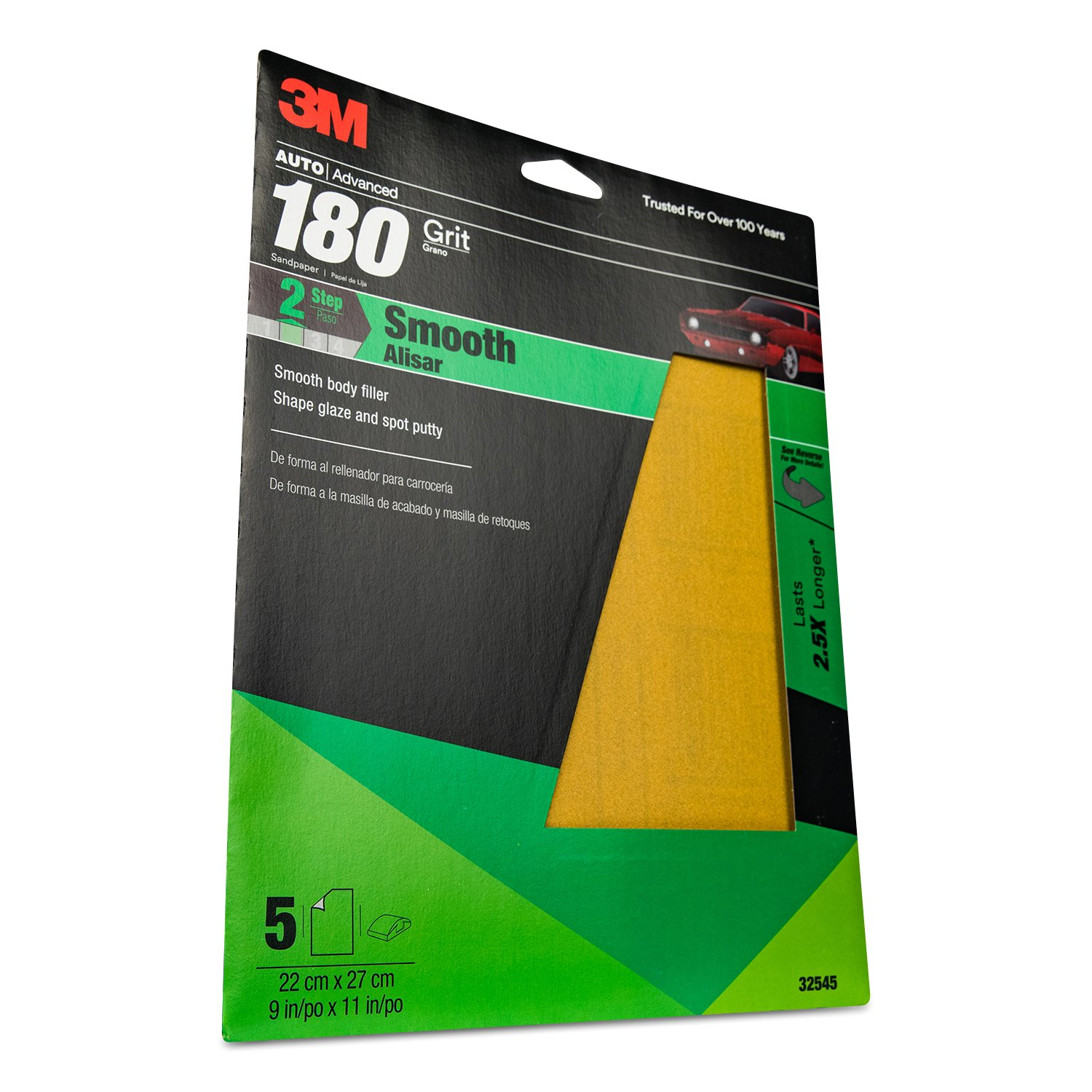 3M 32545 9'' x 11'' P180A Grit Production Resinite Gold Sheet (Pack of 20)