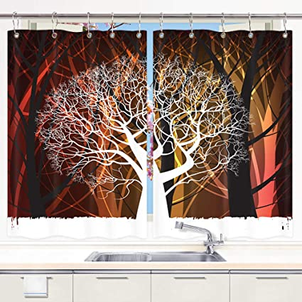 Amazon.com: Creative Tree Kitchen Curtains, Dead Tree and ...