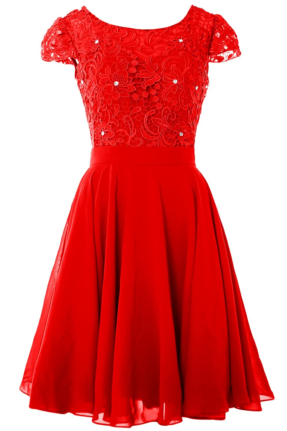 MACloth Short Wedding Guest Dresses Cap Sleeves LaceFormal Party Evening Gown