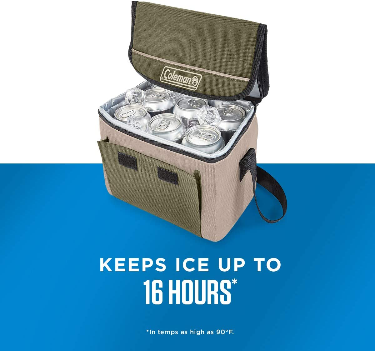 Coleman Enfriador Plegable con retenci/ón de Hielo de 16 Horas Bolsa de refrigeraci/ón de Lado Suave se pliega para un Almacenamiento Compacto