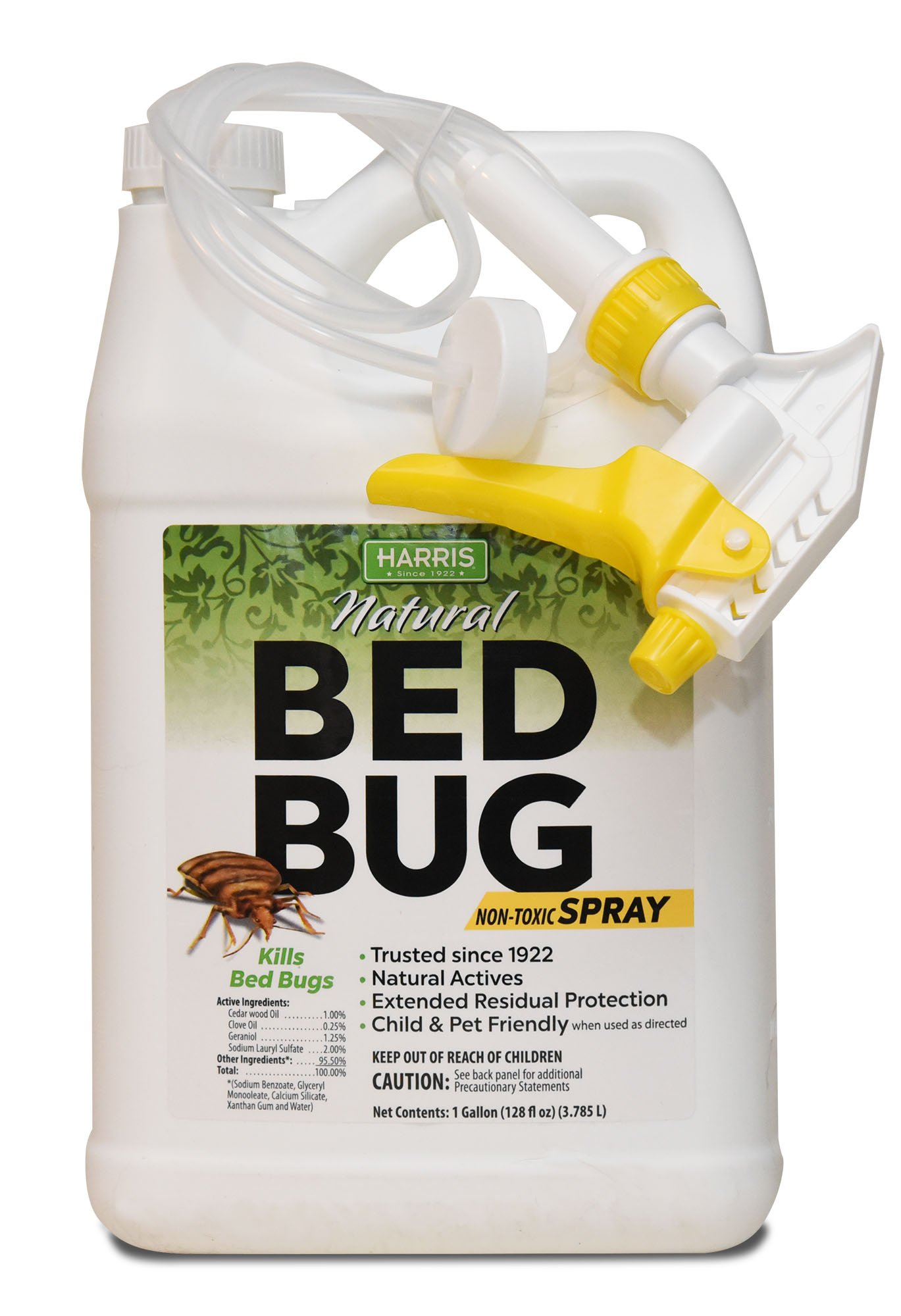 Harris Natural Bed Bug Killer, Fast Acting Non-Toxic Spray with Extended Residual (Gallon)