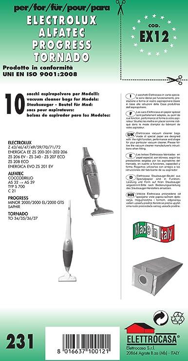 SACCHETTI ASPIRAPOLVERE ELECTROLUX ALFATEC TORNADO VOLTA B 25 10 PEZZI