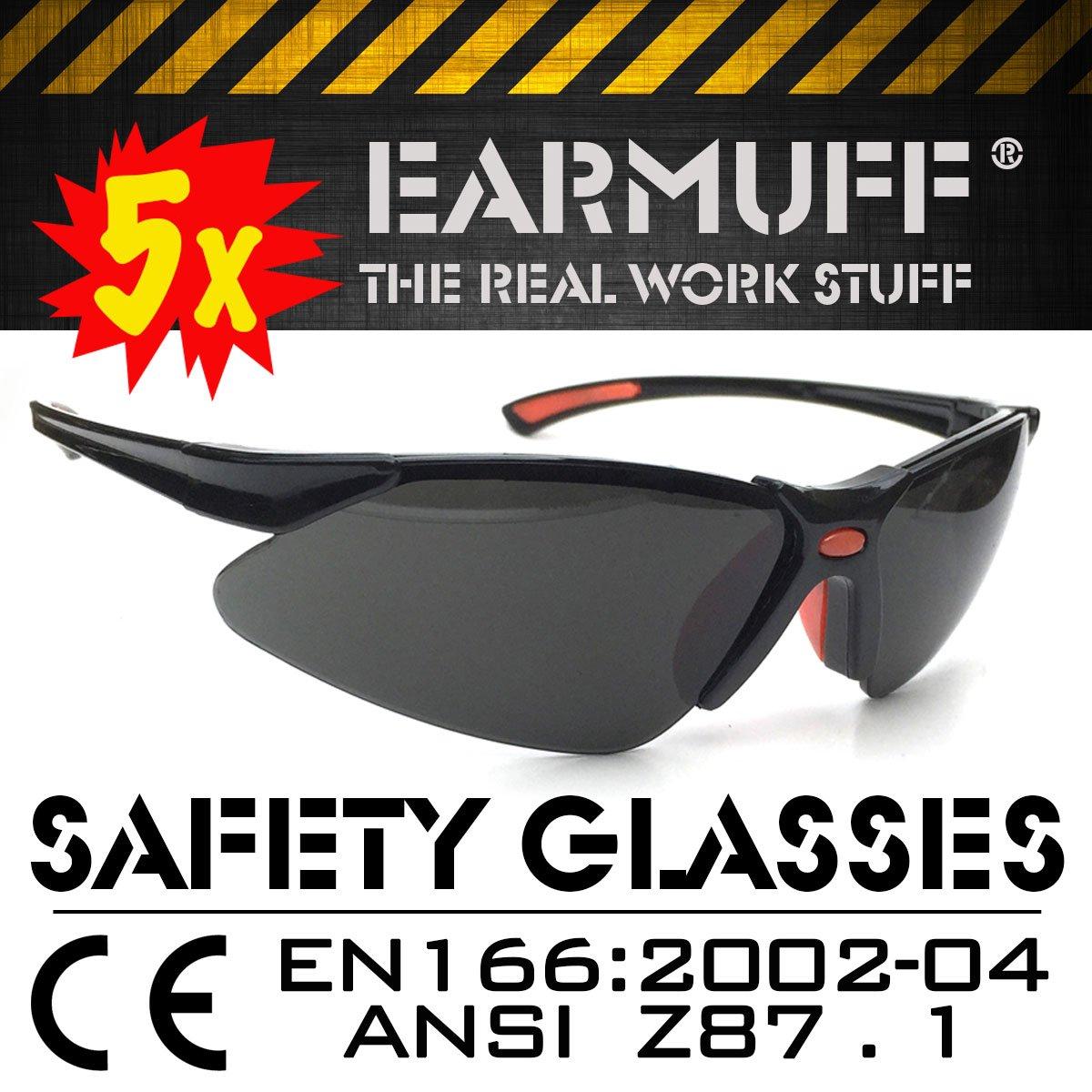 5x SET *STINGER* Sport Schutzbrille, Sicherheitsbrille, Schieß brille, Arbeitsschutzbrille, Bikerbrille, Sonnenbrille nach DIN EN-166 EARMUFF Germany ER9311G-5x