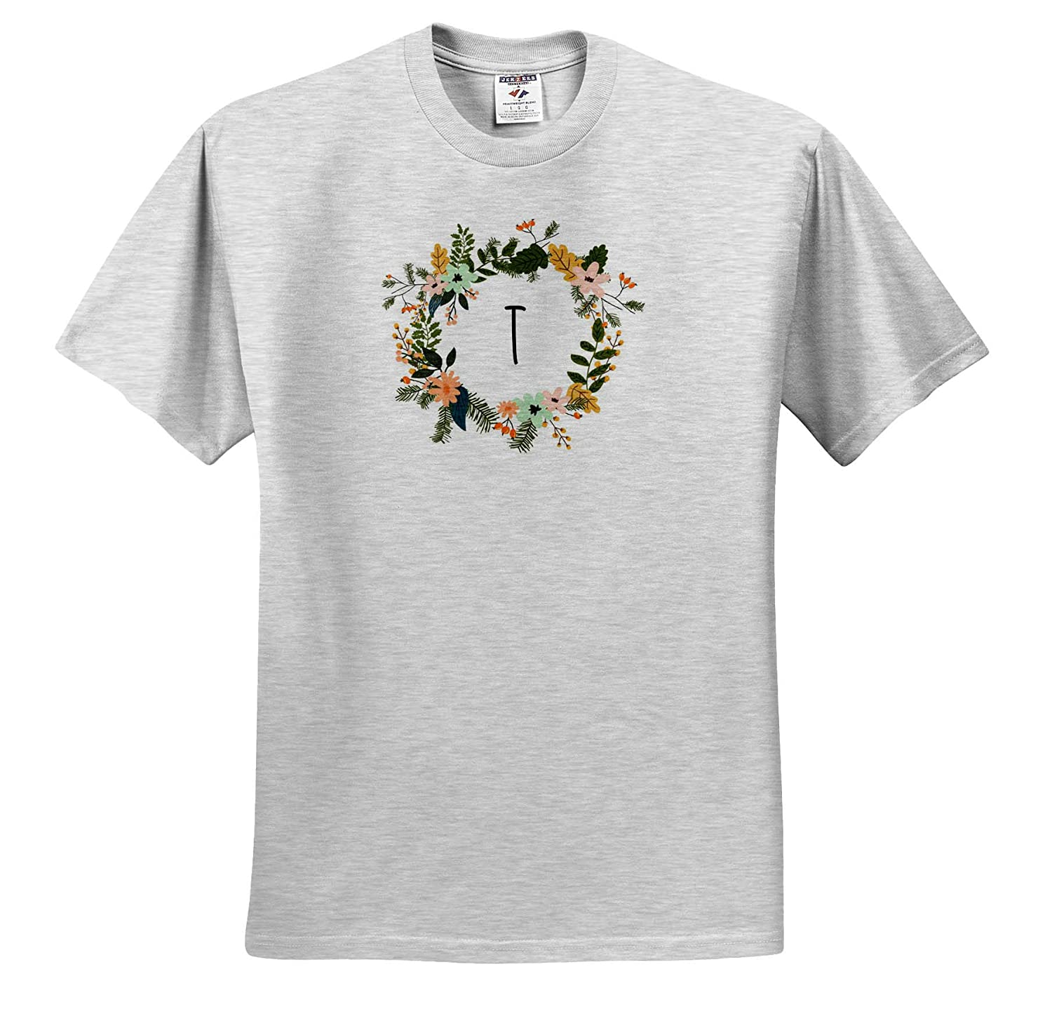 Image of T Floral Monogram 3dRose Gabriella B T-Shirts Quote