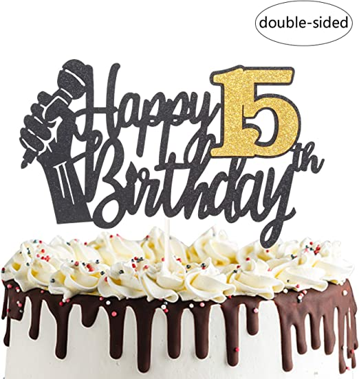 Brilliant Amazon Com Happy 15Th Birthday Cake Topper With Microphone Cheers Birthday Cards Printable Riciscafe Filternl