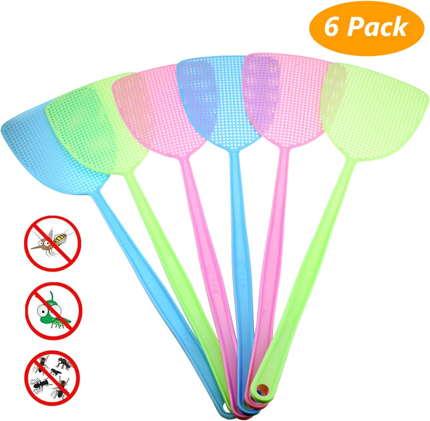 Homga Fly Swatter, Manual Plastic Swat Pest Control with 17.5'' Long Durable Handle Assorted Colors Pack of 6 (1) 71I9XI4CZjL