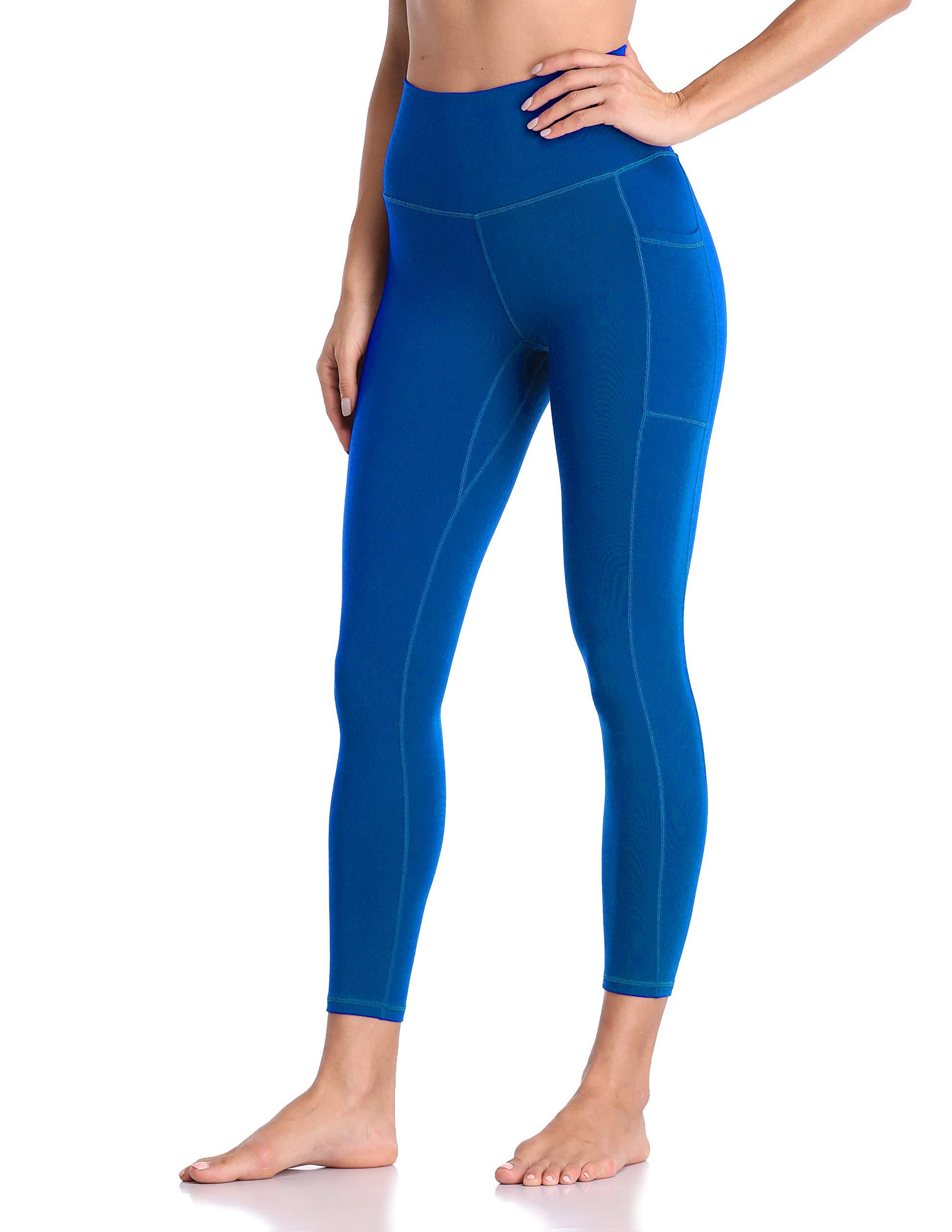 Colorfulkoala Women's High Waisted Yoga Pants 7/8 Length Leggings with Pockets (M, Sapphire Blue) by Colorfulkoala