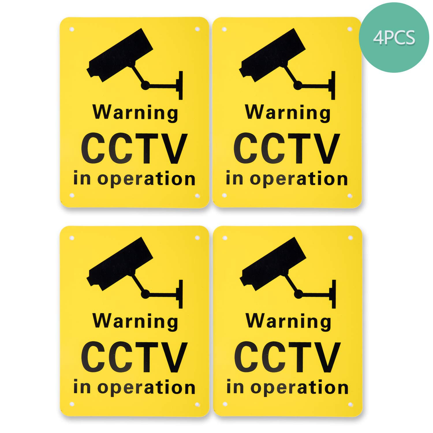 150 x 190 mm 4 Pack Pre-Drilled CCTV Warning Signs CCTV in Operation Signs Plastic Signs for Outdoor Use
