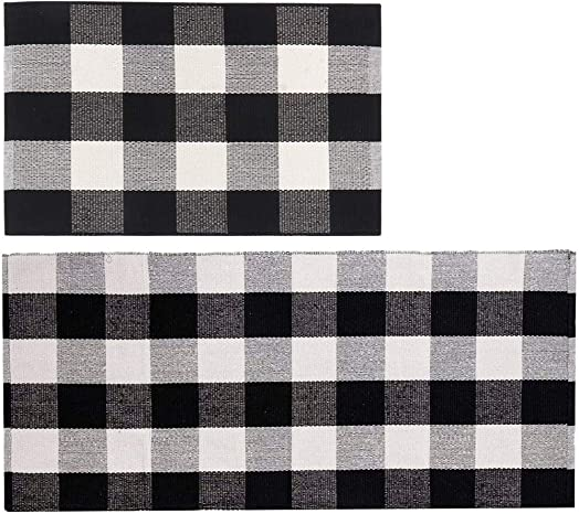 Lmeison Buffalo Plaid Outdoor Welcome Mat, 2 Pack Cotton Black and White Porch Rug, Plaid Kitchen Rugs, Washable and Durable, 23.6 x 35.4 and 23.6 x 51.2