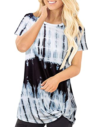 f2d56d9b1fe259 SOLERSUN Blouses for Women Plus Size, Women's Summer Short Sleeve Tie Dye  Tunic Tops Front