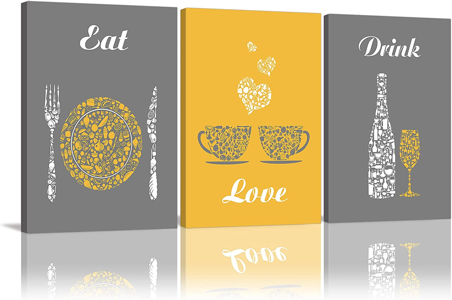 Yellow and Grey Modern Kitchen and Dining Room Wall Art Decor Abstract EAT DRINK LOVE Theme Canvas Prints for Coffee Bar Restaurant Cafe or Home Decoration Pictures Framed Ready to Hang, Set of 3