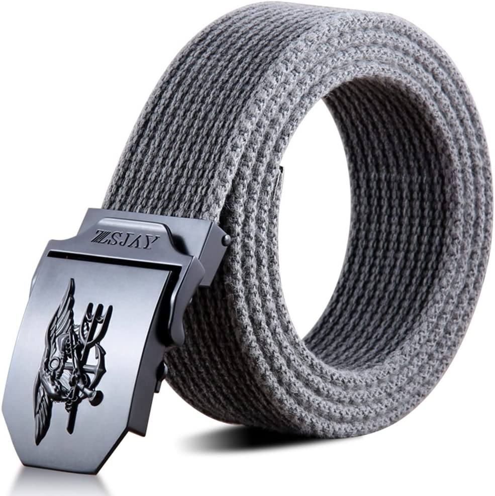 Mens Silver Checkered Buckle Leather Black Belt automatic turkey made no holes need 1 size fits most