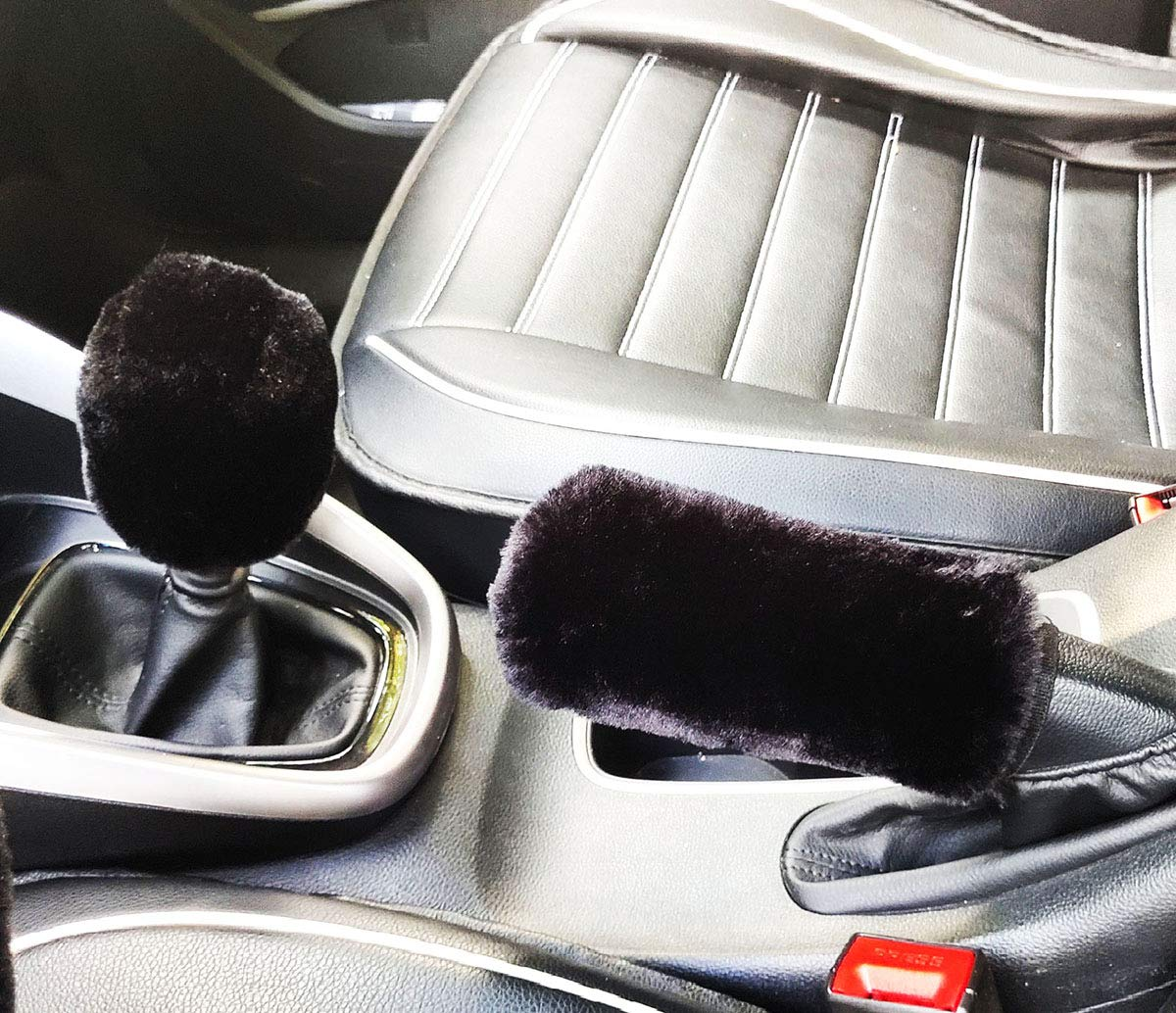 purple for Automatic Set 3 pezzi Coprivolante peluche Coperchio freno a mano in lana sintetica Fodera per auto Copridivano per auto Coprisedili per auto Accessori interni