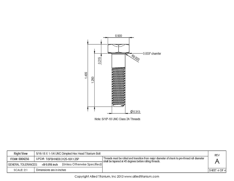 Ti-6Al-4V Grade 5 Allied Titanium 0004256, 5//16-18 X 1-1//4 UNC Titanium Hex Head Bolt Pack of 5